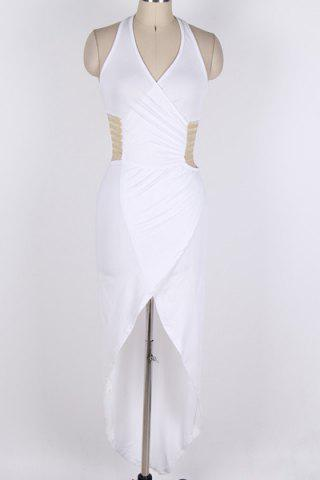 Chic Backless Halter Wrap Long Night Out Dress