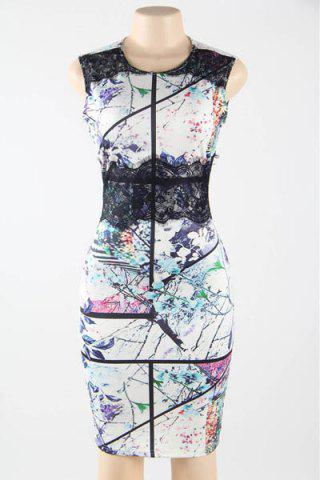 Shop Stylish Jewel Neck Sleeveless Printed Lace Splicing Bodycon Dress For Women
