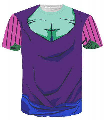 Round Neck Color Block 3D Cartoon Costume Printed Slimming Short Sleeve T-Shirt For Men - COLORMIX XL
