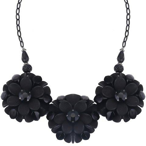 Chic Alloy Faux Crystals Flowers Pendant Necklace