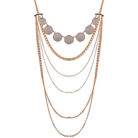 Buy Alloy Multilayer Coin Glitter Powder Pendant Necklace GOLDEN