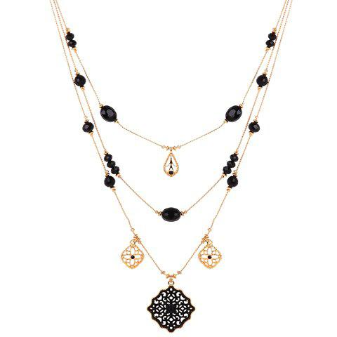 Best Multilayered Water Drop Floral Necklace GOLDEN