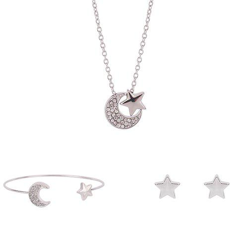 Shops Crescent Star Shape Rhinestoned Jewelry Set (Necklace+Bracelet+Earrings)