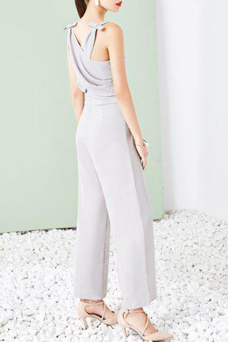 Square Neck Sleeveless Bowknot Embellished Criss Cross Gray Jumpsuit