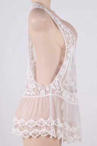 Outfits Crochet Sheer Lace Short Swimsuit Cover-Up Dress - ONE SIZE(FIT SIZE XS TO M) WHITE Mobile