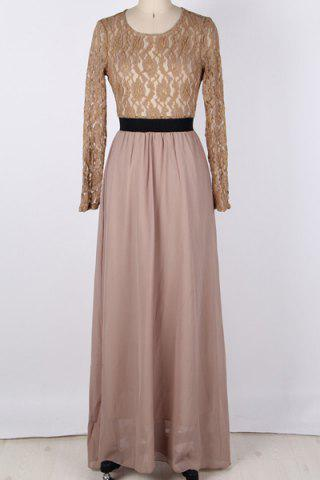 Maxi Lace Panel Formal Evening Dress with Sleeves - Khaki - 3xl