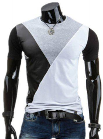 Store Round Neck PU-Leather Spliced Design Short Sleeve T-Shirt For Men