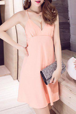 Hot Attractive Spaghetti Strap Loose-Fitting Women's Mini Backless Dress