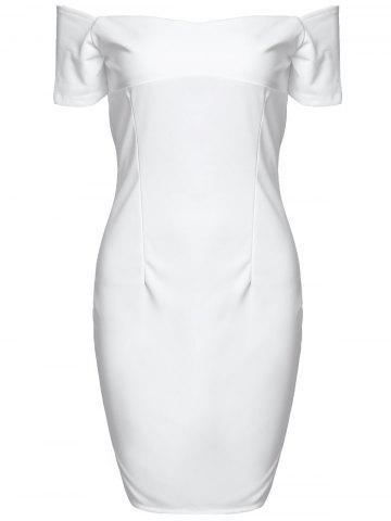 Fashion Stylish Off The Shoulder Short Sleeve Solid Color Bodycon Dress For Women