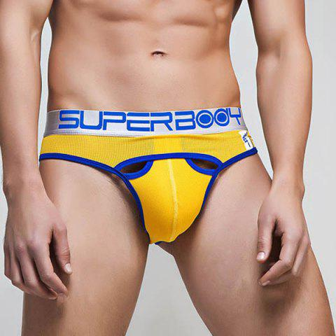 Chic Cool Hollow Out Letters Print Low Waist U Convex Pouch Briefs For Men - YELLOW 2XL Mobile