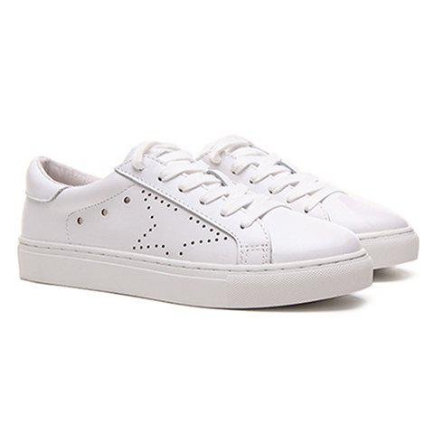 Online Simple Lace-Up and PU Leather Design Athletic Shoes For Women