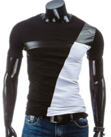 Shop PU Leather Color Block Panel T-Shirt BLACK M