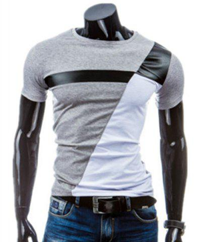 Cheap PU Leather Color Block Panel T-Shirt