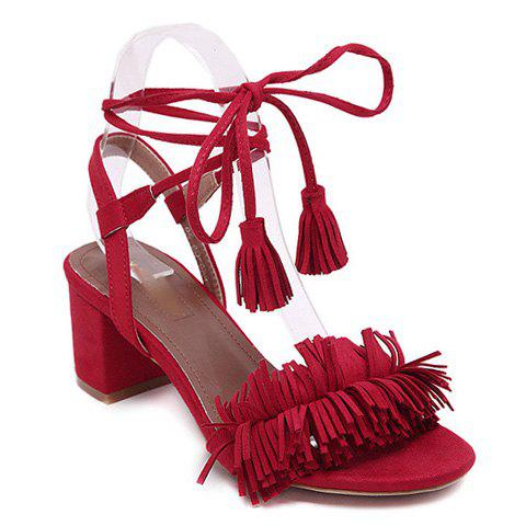 Affordable Fashionable Solid Colour and Fringe Design Sandals For Women