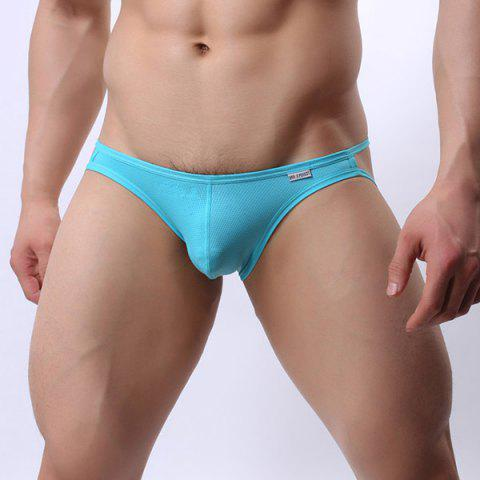 Discount Hollow Out Solid Color Elastic Waist U Convex Pouch Design Thongs For Men
