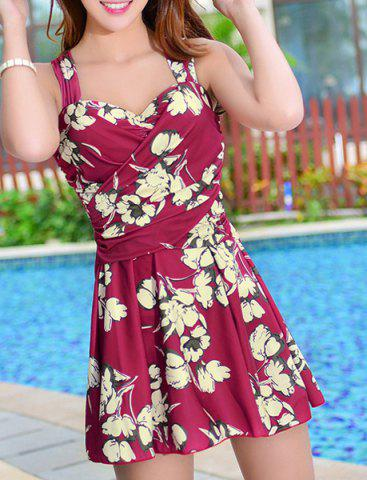 Store Floral Print Skirted One Piece Swimsuit WINE RED XL