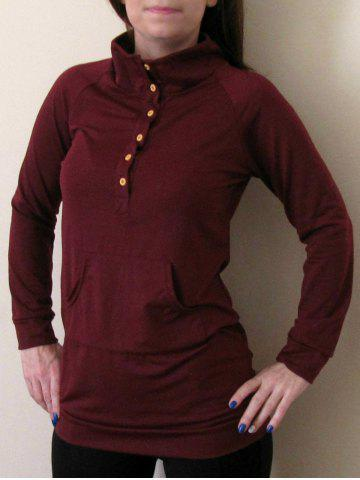 Buttoned Stand Collar Solid Color Long T Shirt