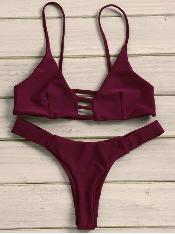 Chic Strappy Tanga Bikini Set WINE RED L