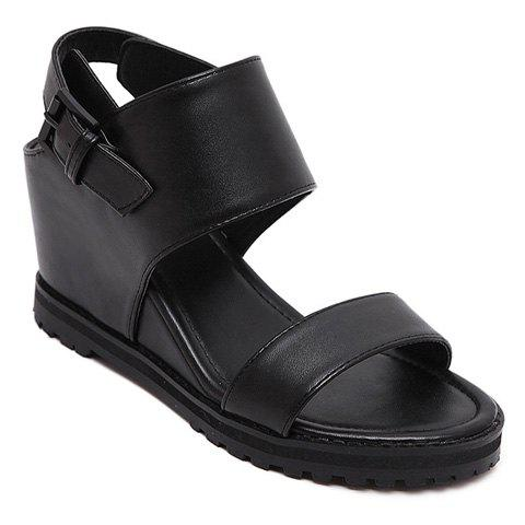 Stylish Wedge Heel and Black Color Design Sandals For Women - Black - 37