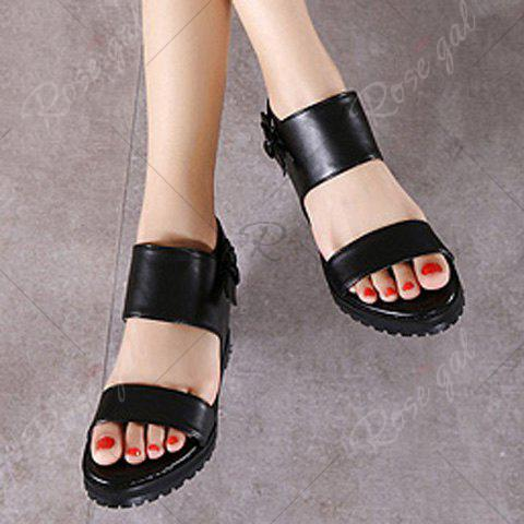 Store Stylish Wedge Heel and Black Color Design Sandals For Women - 37 BLACK Mobile