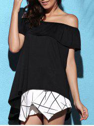Stylish Solid Color Off-The-Shoulder Asymmetric Blouse For Women -