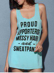 U Neck Letter Print Racerback Tank Top - LIGHT BLUE S