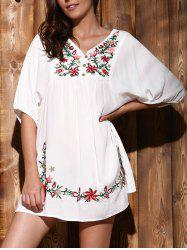 Ethnic Style V-Neck Embroidered Button Design Women's Dress