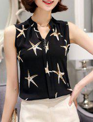 Women's Stylish V-Neck Starfish Sleeveless Chiffon Tank Top