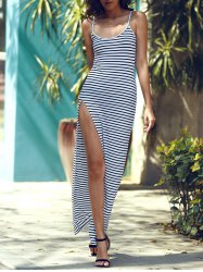 Maxi Stripe Slit Cami Club Dress - STRIPE