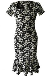 Short Sleeve Floral Print Mermaid Prom Dress - BLACK S