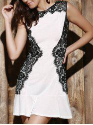 Elegant Round Collar Lace Spliced Ruffles Sleeveless Dress For Women -