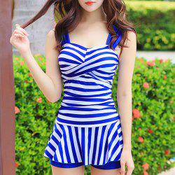 Simple Straps Twisted Striped Swimwear For Women