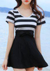 Simple Design Scoop Neck Short Sleeves Striped Swimwear For Women