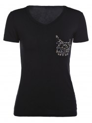 Simple Short Sleeve V-Neck Rhinestoned Women's T-Shirt -