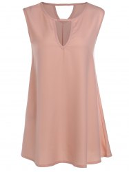 Elegant Sleeveless Hollow Out Women's Chiffon Dress -