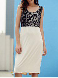 Graceful Scoop Collar Sleeveless Leopard Print Dress For Women -