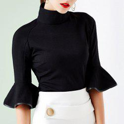 Retro Style Turtleneck 3/4 Sleeve Solid Color Slimming T-Shirt For Women