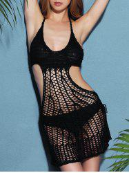 Halter Crochet See Through Backless Swimwear Cover-Up - BLACK ONE SIZE(FIT SIZE XS TO M)