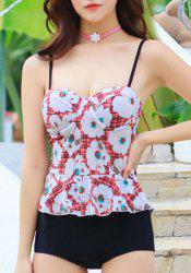 Fashionable Spaghetti Straps Floral Print Tankini Set for Women