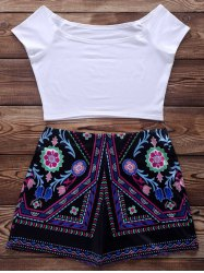Short Sleeve Crop Top + Ethnic Print Short Suit -