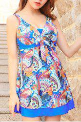 Cute Peacock Printed High Waist One-Piece Dress Swimwear For Women