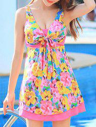 Floral Printed High Waist One-Piece Cute Bathing Suit - COLORMIX XL