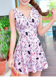 Cute Printed High Waist One-Piece Dress Swimwear For Women