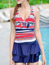 Halter Ruffled Striped Underwire Cute One Piece Swimsuits