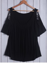 Plus Size Lace Insert Cold Shoulder Top