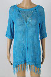 Stylish Jewel Neck Short Sleeve Fringed Cover-Up For Women -