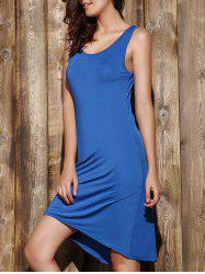 Simple Scoop Neck Sleeveless Pleated Solid Color Women's Dress