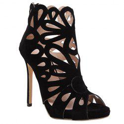 Zip Back Stiletto Heel Caged Sandals - BLACK