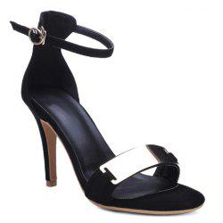 Metal Bar High Heel Ankle Strap Sandals