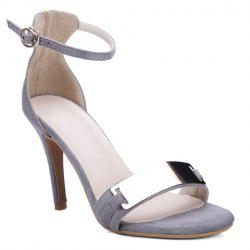 Metal Bar High Heel Ankle Strap Sandals - GRAY
